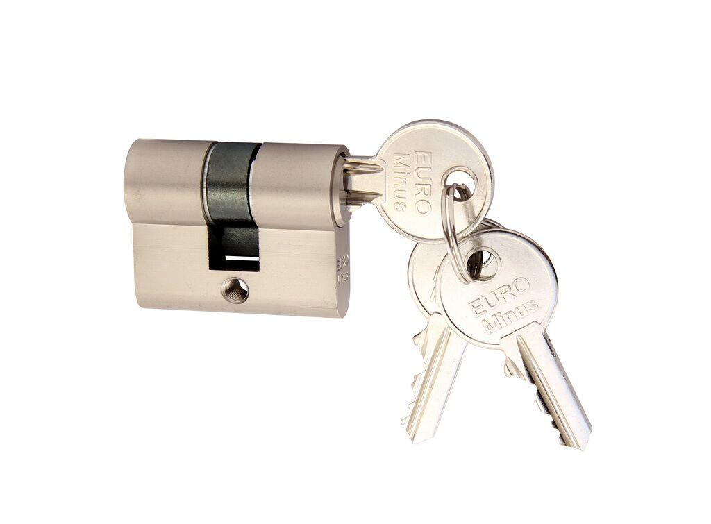 Stavební vložka EURO Minus - extra krátká 20/20 + 3 klíče Matný